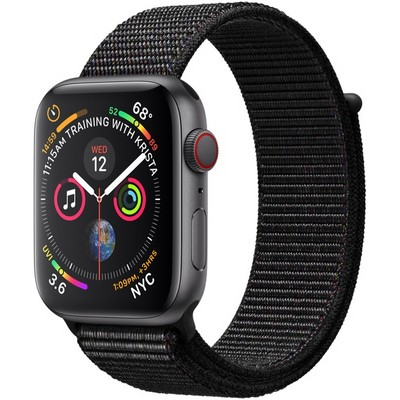 Apple Watch Series 4 44mm Space Gray Aluminum Case with Black Sport Loop LTE - фото 7386