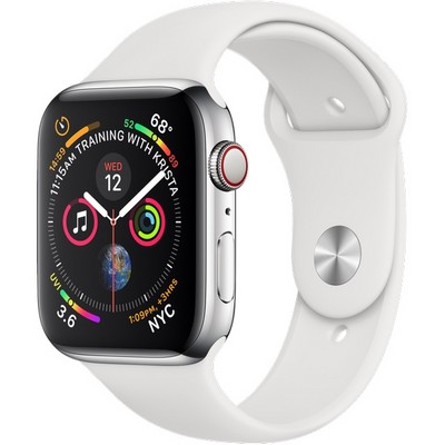 Apple Watch Series 4 44mm Stainless Steel Case with White Sport Band LTE - фото 7389