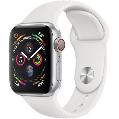 Apple Watch Series 4 40mm Silver Aluminum Case with White Sport Band Cellular - фото 7395