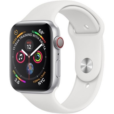 Apple Watch Series 4 44mm Silver Aluminum Case with White Sport Band Cellular - фото 7398