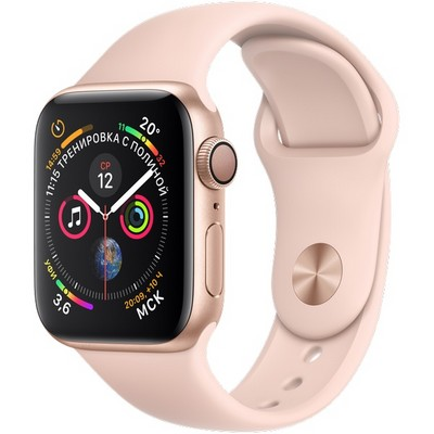 Apple Watch Series 4 (GPS) 40mm Gold Aluminum Case with Pink Sand Sport Band (MU682) - фото 7408