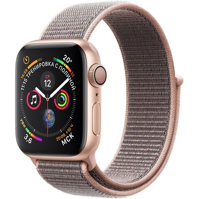 Часы Apple Watch Series 4 GPS 40mm (Gold Aluminum Case with Pink Sand Sport Loop) - фото 7410