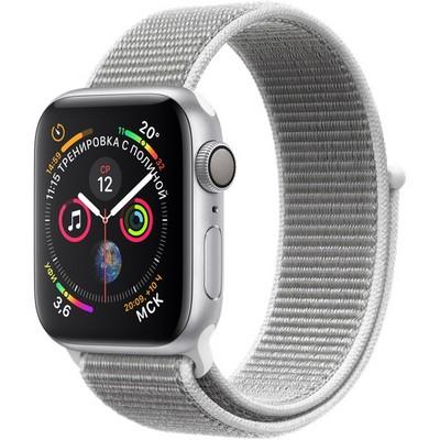 Apple Watch Series 4 GPS 40mm Silver Aluminum Case with Seashell Sport Loop (Спортивный браслет цвета «белая ракушка») MU652 - фото 7409