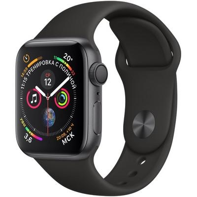 Apple Watch Series 4 GPS 40mm Space Gray Aluminum Case with Black Sport Band MU662 (Серый космос / Черный) дубль - фото 7411