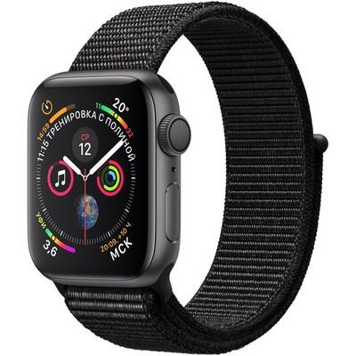Apple Watch Series 4 GPS 40mm Space Gray Aluminum Case with Black Sport Loop (Спортивный браслет чёрного цвета) MU672 - фото 7414