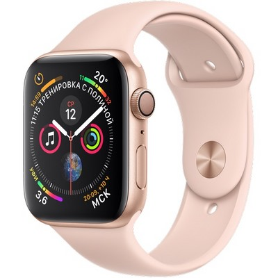 Apple Watch Series 4 GPS, 44 mm Gold Aluminum Case with Pink Sand Sport Band MU6F2 - фото 7419