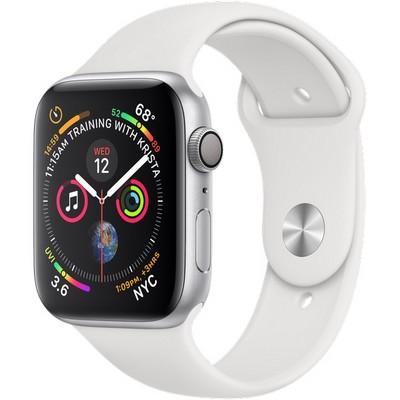 Apple Watch Series 4 GPS, 44mm Silver Aluminum Case with White Sport Band (Серебристый/Белый) MU6A2 - фото 7434