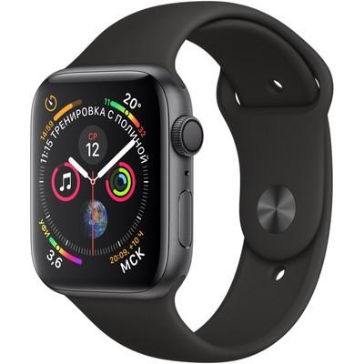 Apple Watch Series 4 GPS, 44mm Space Gray Aluminum Case with Black Sport Band (Серый космос/Черный) MU6D2 - фото 7437