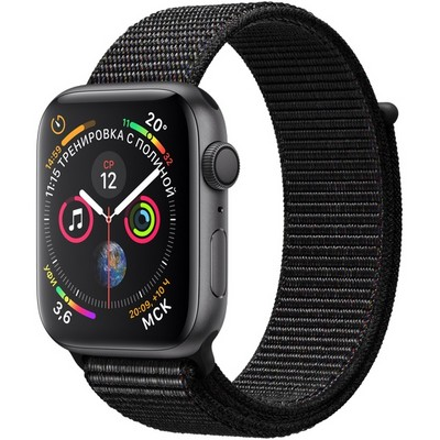 Apple Watch Series 4 44mm Space Gray Aluminum Case with Black Sport Loop GPS - фото 7440