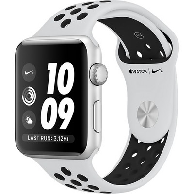 Apple Watch Series 3 42mm Aluminum Case with Nike Sport Band Pure Platinum/Black - фото 7455