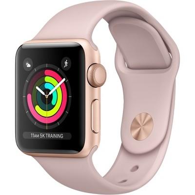 Apple Watch Series 3 38mm Gold Aluminum Case with Pink Sand Sport Band (золотистый/розовый песок) MQKW2 - фото 7470