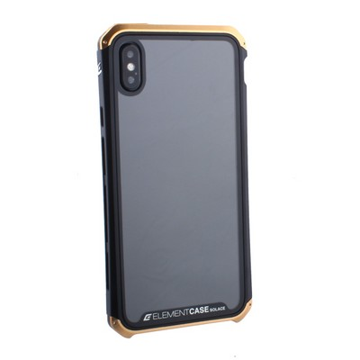 "Чехол-накладка противоударный (AL&Glass) для Apple iPhone XS Max (6.5"") G-Solace золотисто-черный ободок - фото 14368"