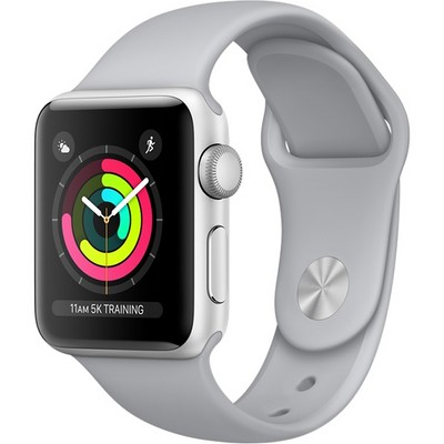 Часы Apple Watch Series 3 38mm (Silver Aluminum Case with White Sport Band) (MTEY2) - фото 7464