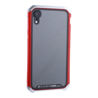 """Чехол-накладка противоударный (AL&Glass) для Apple iPhone XR (6.1"""") G-Solace серебристо-красный ободок - фото 14377"""