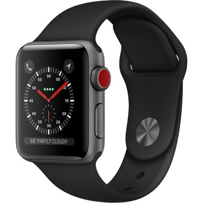 Apple Watch Series 3 Cellular 38mm Space Gray Aluminum Case with Black Sport Band MQJP2 - фото 7472