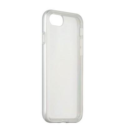 Чехол&бампер силиконовый прозрачный для iPhone SE (2020г.)/ 8/ 7 (4.7) в техпаке Серебристый борт - фото 16772