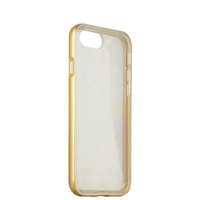 Чехол&бампер силиконовый прозрачный для iPhone SE (2020г.)/ 8/ 7 (4.7) в техпаке Золотистый борт - фото 14433