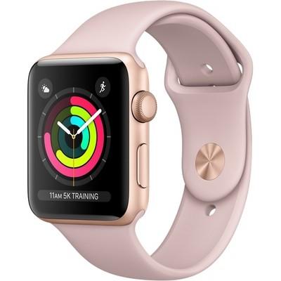 Часы Apple Watch Series 3 42mm Rose Gold Aluminum Case with Sport Band Sand Pink (Золотистый/Розовый песок) - фото 7483