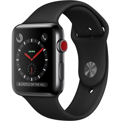 Apple Watch Series 3 42mm (GPS + Cellular) Space Black Stainless Steel Case with Black Sport Band (Черный) - фото 7484