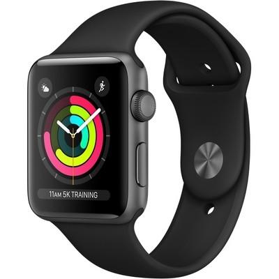 Часы Apple Watch Series 3 42mm Aluminum Case with Sport Band Black/Black (Серый космос/Черный)  - фото 7498