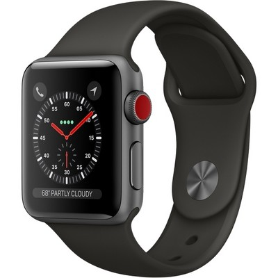 Apple Watch Series 3 42mm (Cellular) Space Gray Aluminum Case with Black Sand Sport Band (MQK22) - фото 7501