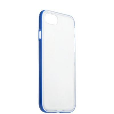 Чехол&бампер силиконовый прозрачный для iPhone 8/ 7 (4.7) в техпаке Синий борт - фото 14560