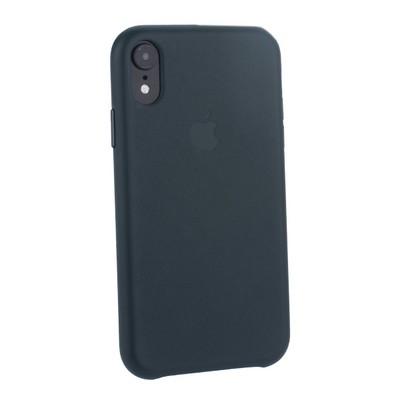"""Чехол-накладка кожаная Leather Case для iPhone XR (6.1"""") Forest Green Темно-зеленый - фото 16105"""