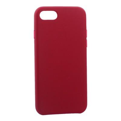 "Чехол-накладка кожаная Leather Case для iPhone SE (2020г.)/ 8/ 7 (4.7"") Pink fuchsia - Малиновый - фото 16264"