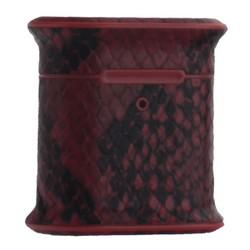 Чехол пластиковый Mobest для AirPods 2 кожа змеи Красный