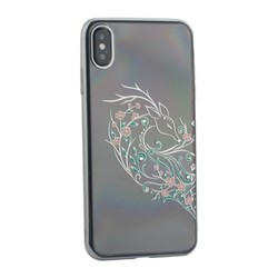 """Чехол-накладка KINGXBAR для iPhone XS Max (6.5"""") пластик со стразами Swarovski 49F серебристый (Лань)"""