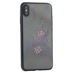 """Чехол-накладка KINGXBAR для iPhone XS Max (6.5"""") пластик со стразами Swarovski 49F черный (Журавль)"""