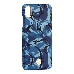 """Чехол-накладка KINGXBAR для iPhone XS Max (6.5"""") пластик со стразами Swarovski (Синий камуфляж)"""