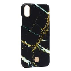 """Чехол-накладка KINGXBAR для iPhone XS Max (6.5"""") пластик со стразами Swarovski (Мрамор-черный)"""