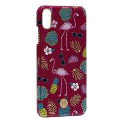 """Чехол-накладка KINGXBAR для iPhone XS Max (6.5"""") пластик со стразами Swarovski (Фламинго)"""