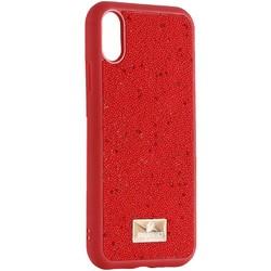 """Чехол-накладка силиконовая со стразами SWAROVSKI Crystalline для iPhone XR (6.1"""") Красный №4"""