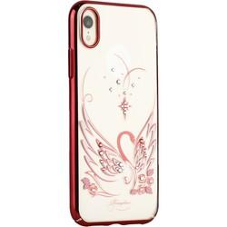 """Чехол-накладка KINGXBAR для iPhone XR (6.1"""") пластик со стразами Swarovski 49F Лебединая Любовь красный"""