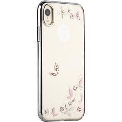 """Чехол-накладка KINGXBAR для iPhone XR (6.1"""") пластик со стразами Swarovski 49F (Розовые бабочки) серебристый"""