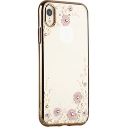 "Чехол-накладка KINGXBAR для iPhone XR (6.1"") пластик со стразами Swarovski 49F (розовые цветы) золотистый"