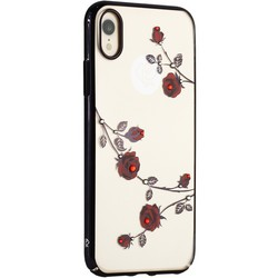 """Чехол-накладка KINGXBAR для iPhone XR (6.1"""") пластик со стразами Swarovski 49F (Красные розы) черный"""