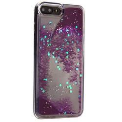 """Чехол-накладка для iPhone 8 Plus/7 Plus (5.5"""") силиконовый с сиреневыми плавающими блестками Прозрачный"""