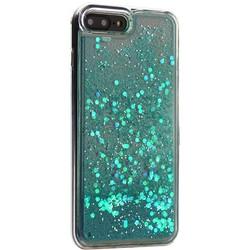 """Чехол-накладка для iPhone 8 Plus/7 Plus (5.5"""") силиконовый с бирюзовыми плавающими блестками Прозрачный"""