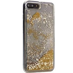 """Чехол-накладка для iPhone 8 Plus/7 Plus (5.5"""") силиконовый с золотыми плавающими блестками Прозрачный"""