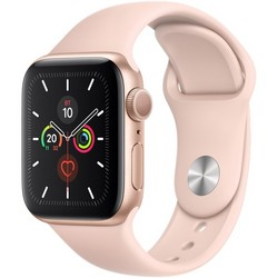 Apple Watch Series 5 GPS 40mm Gold Aluminum Case with Pink Sand Sport Band (MWV72RU)