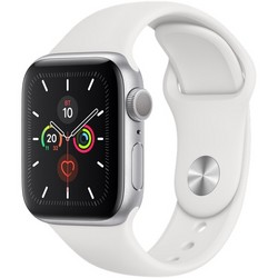 Apple Watch Series 5 GPS 40mm Silver Aluminum Case with White Sport Band (MWV62RU)
