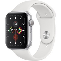 Apple Watch Series 5 GPS 44mm Silver Aluminum Case with White Sport Band (MWVD2RU/A)