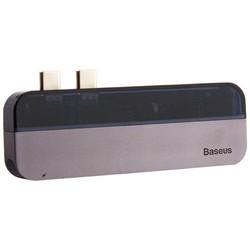 Переходник Baseus Transparent Series 5в1 (CAHUB-TSOG) Dual Type-C to USB3.0x2/Type-Cx2/ 4K HDMI для MacBook Графитовый