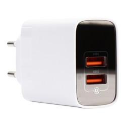 Адаптер питания Baseus Mirror Lake 18W Dual QC Digital Display Quick Charger A+A EU (2USB: 5V 3.0A Max) CCJMHA-A02 Белый