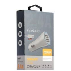 Разделитель автомобильный Aspor High Quality A901C (2USB: 5V 2.4А&1.0A) & дата-кабель c разъемом MicroUSB белый