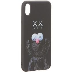 """Чехол-накладка силикон Luxo для iPhone XS Max (6.5"""") 0.8мм с флуоресцентным рисунком KAWS Черный"""