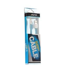 USB дата-кабель Aspor А107 MicroUSB (1.0m) плоский в силиконе 2.1A голубой
